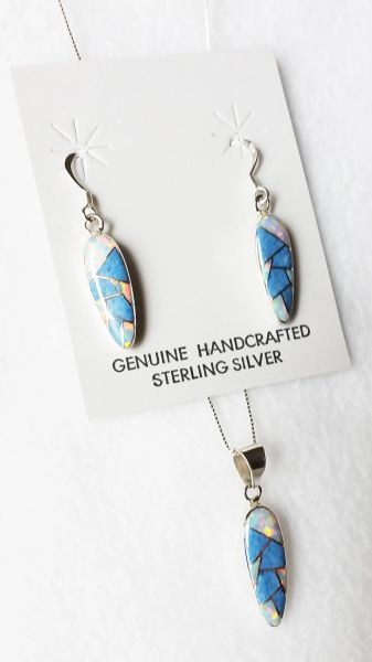 """Sterling silver white opal and denim lapis inlay corn cob dangle earrings and 18"""" sterling silver box chain necklace set. S007"""