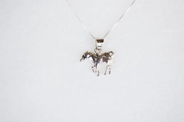 "Sterling silver horse pendant with sterling silver 18"" box chain. N115."
