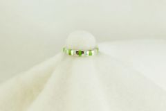 Sterling silver gaspeite and white opal inlay ring. R146