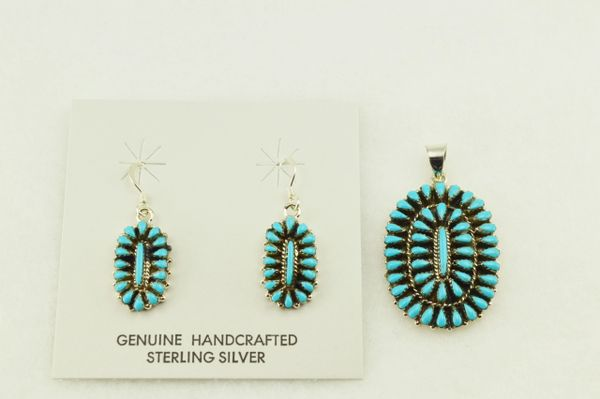 Sterling silver turquoise oval earrings and pendant set. S247