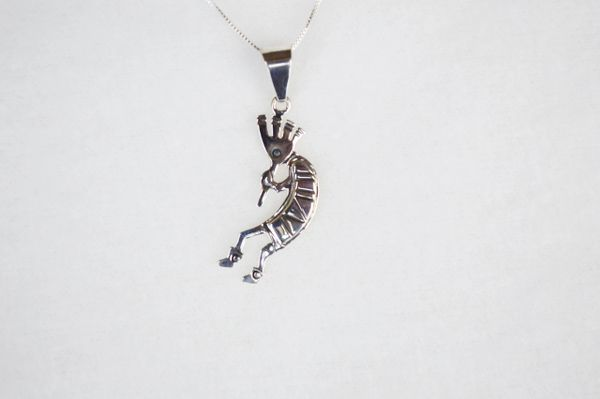 """Sterling silver kokopelli pendant with sterling silver 18"""" box chain. N117."""