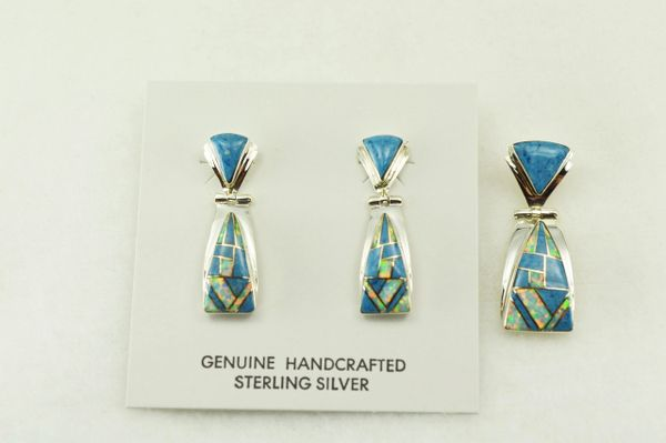 Sterling silver denim lapis and white opal inlay candy corn shaped earrings and pendant set. S208