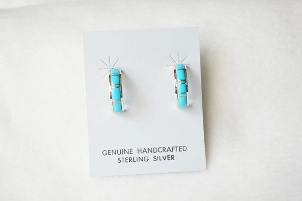 Sterling silver turquoise inlay medium hoop post earrings. E295