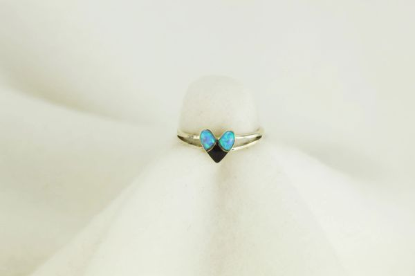 Sterling silver black onyx and blue opal inlay ring. R063