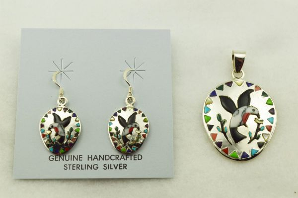 Sterling silver multi color inlay hummingbird earrings and pendant set. S312