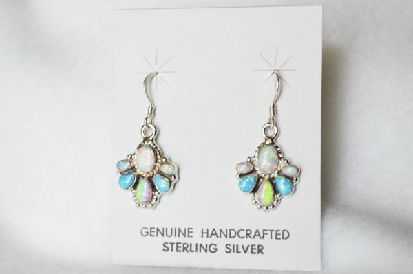 Sterling silver white, pink and blue opal dangle earrings. E148