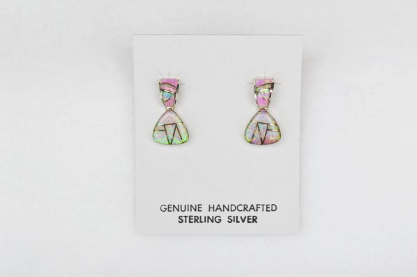 Sterling silver pink inlay post earrings. E113