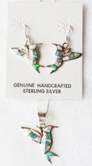 "Sterling silver blue, white and pink opal inlay hummingbird dangle earrings and 18"" sterling silver box chain necklace set. S035"