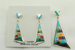 Sterling silver multi color inlay fancy triangle earrings and pendant set. S129