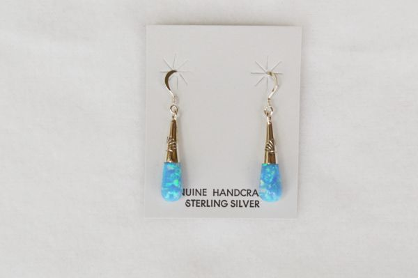 Sterling silver blue opal drop dangle earrings. E105