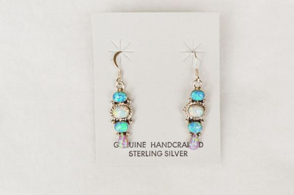 Sterling silver white, blue and pink opal 4 rounds dangle earrings. E142