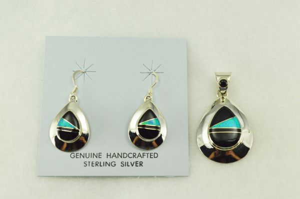 Sterling silver black onyx and blue opal inlay teardrop earrings and pendant set. S221