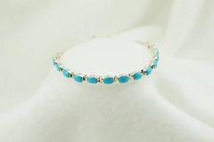 "Sterling silver turquoise oval link 7.5"" bracelet. B043"