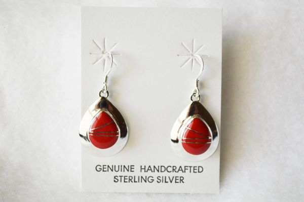 Sterling silver coral inlay medium teardrop dangle earrings. E211