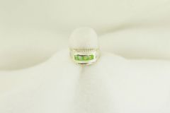 Sterling silver gaspeite and white opal inlay ring. R215