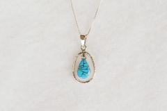 "Sterling silver turquoise inlay teardrop in hoop pendant with sterling silver 18"" box chain. N076."