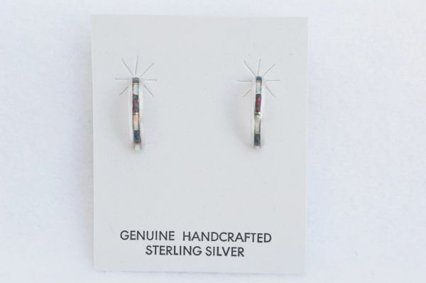 Sterling silver black and white opal inlay small 1/2 hoop post earrings. E225