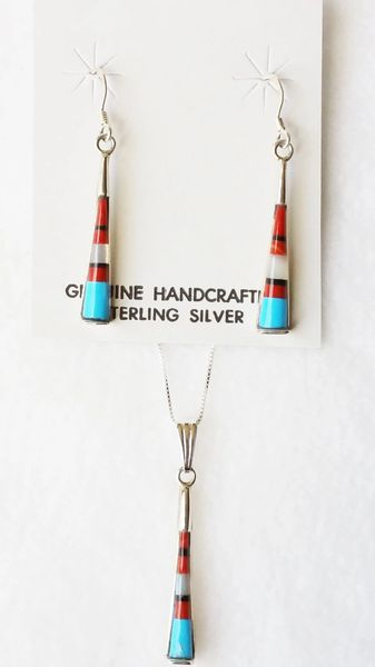 """Sterling silver multi color inlay tall round dangle earrings and 18"""" sterling silver box chain necklace set. S119"""