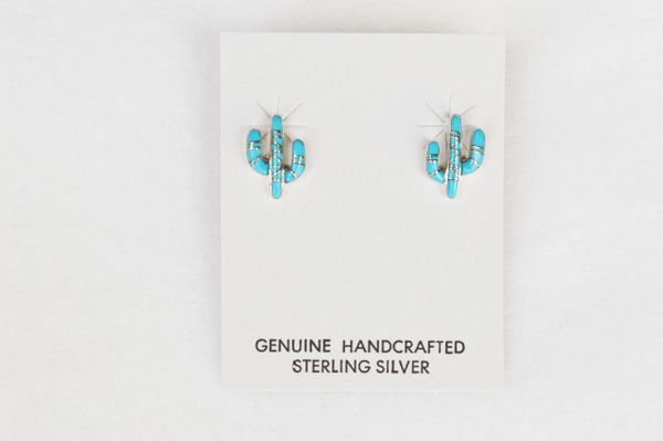 Sterling silver turquoise post cactus earrings (E012)