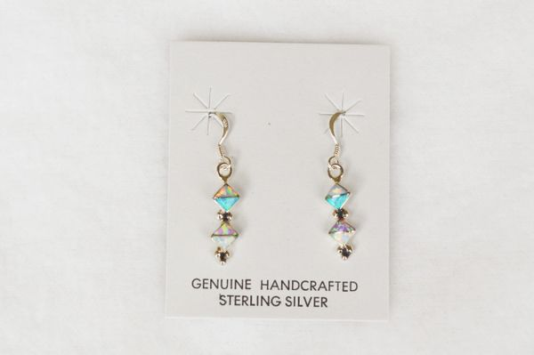 Sterling silver white, blue and pink opal inlay double diamond dangle earrings. E144