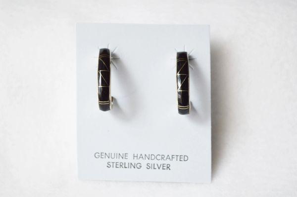Sterling silver black onyx inlay medium 3/4 hoop post earrings. E284