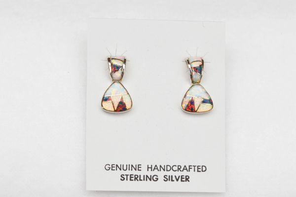 Sterling silver black/white opal inlay post earrings. E115
