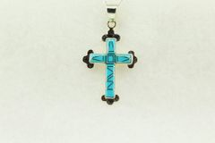 "Sterling silver turquoise inlay cross pendant with sterling silver 18"" figaro chain. N183"