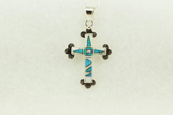 """Sterling silver howlite and blue opal inlay cross pendant with sterling silver 18"""" figaro chain. N177"""