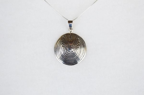 """Sterling silver man in the maze pendant with sterling silver 18"""" box chain. N116."""