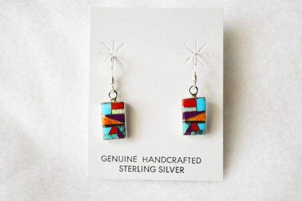 Sterling silver multi color inlay rectangle dangle earrings. E214
