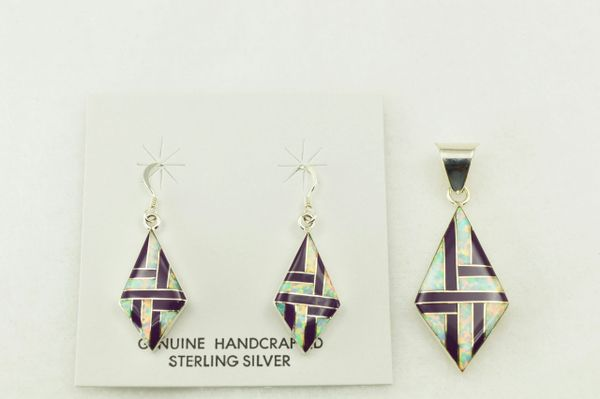 Sterling silver sugilite and white opal inlay diamond earrings and pendant set. S204