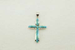 Sterling silver blue opal inlay cross pendant. P004