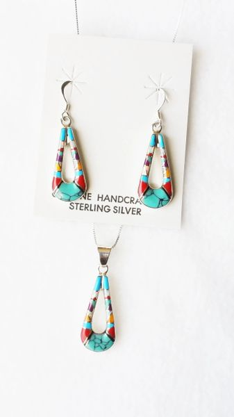 "Sterling silver multi color inlay hollow teardrop dangle earrings and 18"" sterling silver box chain necklace set. S105"