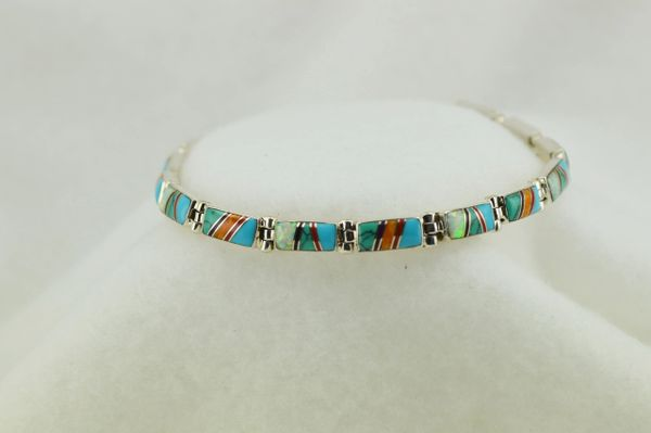 "Sterling silver multi color inlay link 7.75"" bracelet. B095"