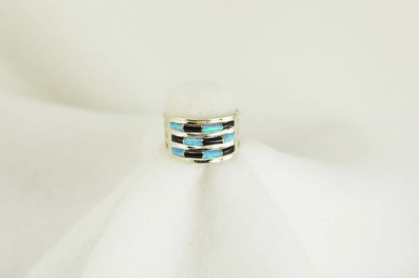 Sterling silver black onyx and blue opal inlay ring. R066