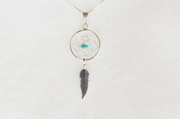 """Sterling silver turquoise dream catcher pendant with sterling silver 18"""" box chain. N082."""