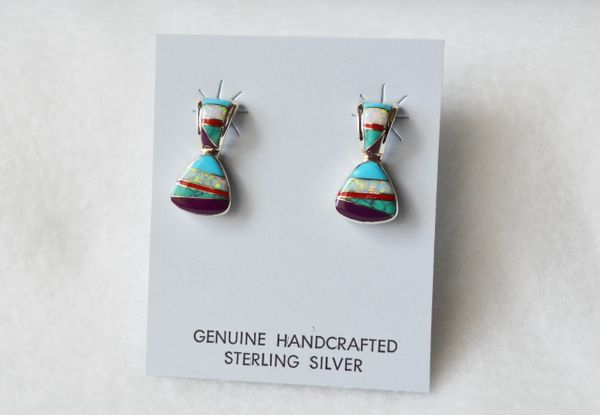 Sterling silver multi color inlay post earrings. (E067)