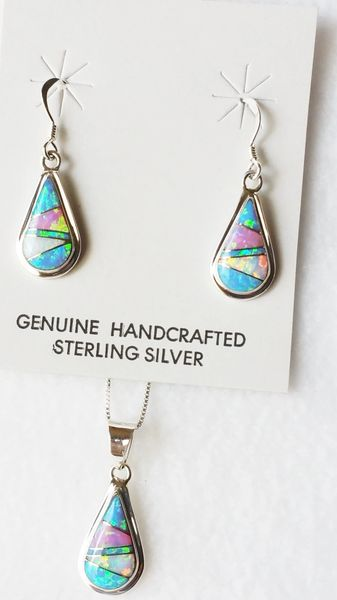 "Sterling silver blue, white and pink opal inlay teardrop dangle earrings and 18"" sterling silver box chain necklace set. S033"