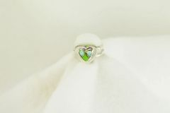 Sterling silver gaspeite and white opal inlay ring. R144