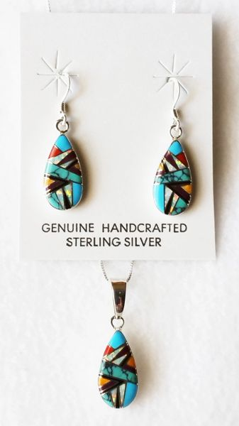 """Sterling silver multi color opal inlay teardrop dangle earrings and 18"""" sterling silver box chain necklace set. S003"""