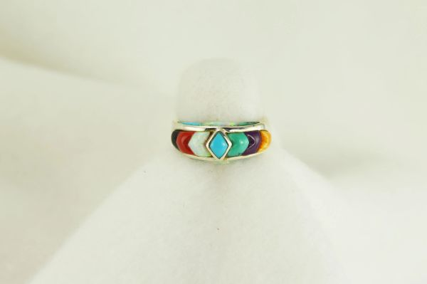 Sterling silver multi color inlay ring. R027