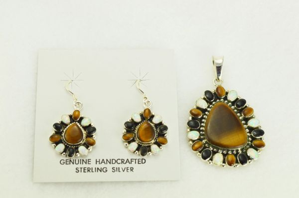 Sterling silver white opal, tiger eye and black onyx oval dangle earrings and pendant set. S339