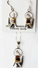 """Sterling silver white opal, tiger eye and black onyx inlay coyote dangle earrings and 18"""" sterling silver box chain necklace set. S043"""