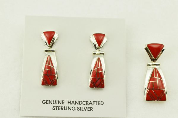 Sterling silver coral inlay triangle shaped earrings and pendant set. S271