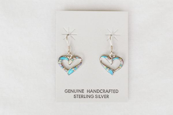 Sterling silver white, blue and pink opal inlay heart dangle earrings. E128