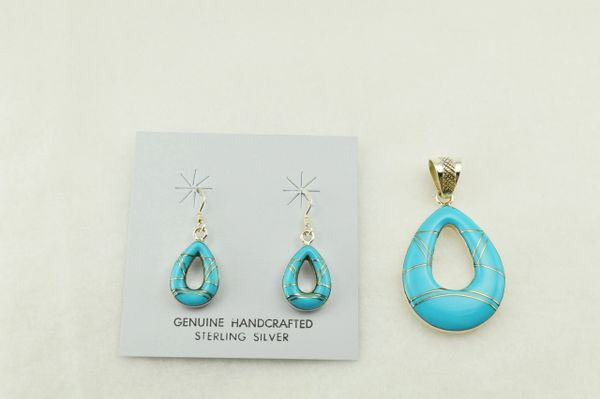 Sterling silver turquoise inlay hollow raindrop earrings and pendant set. S244