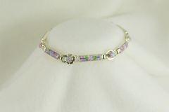 "Sterling silver pink opal inlay 8"" link bracelet. B019"