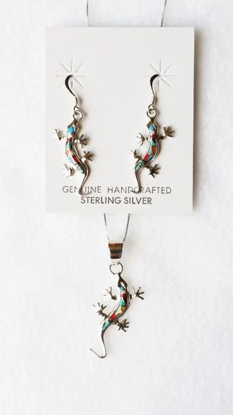 """Sterling silver multi inlay color lizard dangle earrings and 18"""" sterling silver box chain necklace set. S093"""