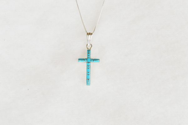"""Sterling silver turquoise inlay cross pendant with sterling silver 18"""" box chain. N080."""