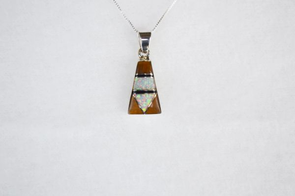 """Sterling silver white opal, tiger eye and black onyx inlay pillar pendant with sterling silver 18"""" box chain. N108."""